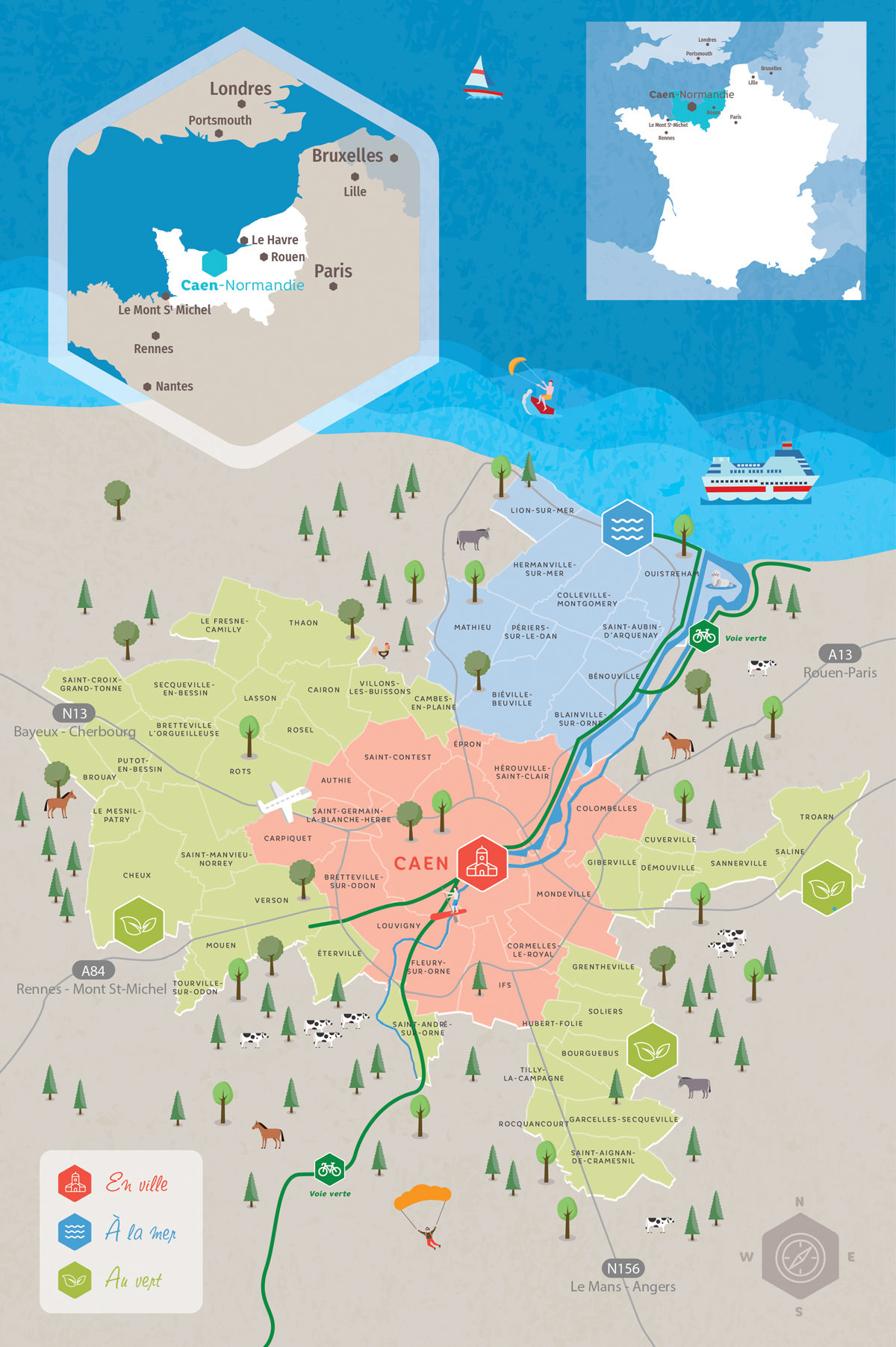 Carte touristique de Caen-Normandie